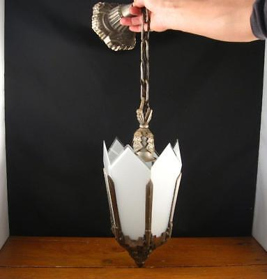 Antique Art Deco Ceiling Fixture Light Lamp Chandelier Cast Metal
