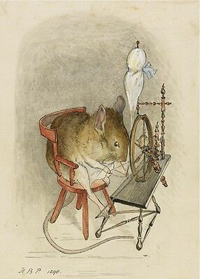 Modern Repro Postcard: Beatrix Potter Illustration - Mouse with Spinning Wheel