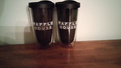 2 WAFFLE HOUSE Double Wall Travel Tumblers ~ Black with White Lettering ~ RARE !