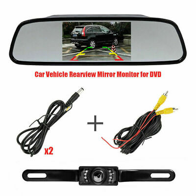 5 Inch Car Mirror Monitor+Wired IR LED Nightvision Reverse Camera Rear View Kit