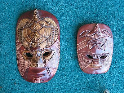 Fijian Wooden Masks X 2, Hand Carved, Large 22 X 14Cm, Small 15 X 11.5Cm, Vgc