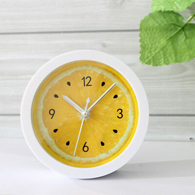 Wooden Non-ticking Classic Clock Cute Pattern Bedside Desktop Alarm Clock #5