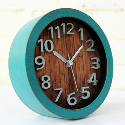 Wooden Non-ticking Classic Clock Cute Pattern Bedside Desktop Alarm Clock #2