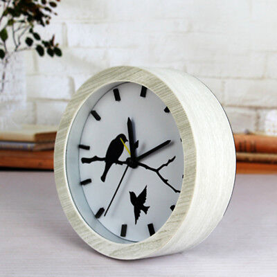 Wooden Non-ticking Classic Clock Cute Pattern Bedside Desktop Alarm Clock #8