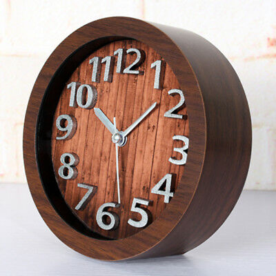 Wooden Non-ticking Classic Clock Cute Pattern Bedside Desktop Alarm Clock #3