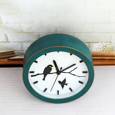 Wooden Non-ticking Classic Clock Cute Pattern Bedside Desktop Alarm Clock #9