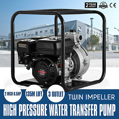 """3 Outlet 2"""" Petrol High Flow Water Transfer Pump Fire Fighting Irrigation"""