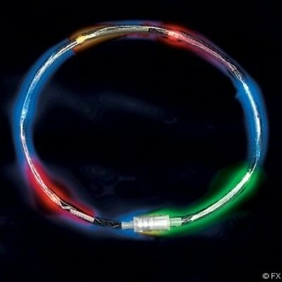 LED Colour Flashing Tube Necklace, clear, multicolor, expandable - Pack of 6