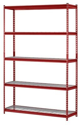 "Muscle Rack UR184872-R 5-Shelf Steel Shelving Unit, 48"" Width x 72"" Height x 18"""