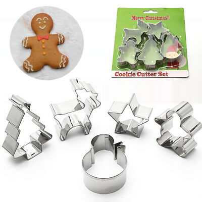 5pcs/Set Stainless Steel Christmas Men Cookie Cutter Plunger Baking Mould Mold