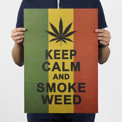 KEEP CALM AND SMOKE WEED Home Bar Decoration Chart Kraft Paper Retro Poster