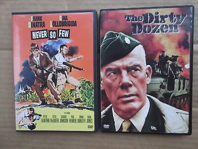 2 Classic Warner Brothers War dvds Never So Few & The Dirty Dozen Western movies