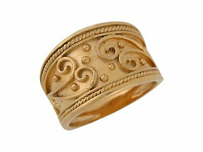 10k or 14k Yellow Gold Wide Band Etruscan Rope Edge Design Fancy Ladies Ring