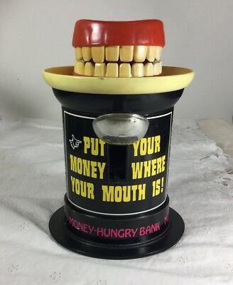 Vintage 1975 TOY POYNTER PRODUCTS MONEY HUNGRY BANK.