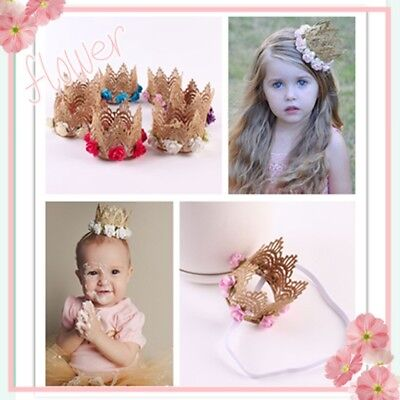 Kid Girl Baby Toddler Lace Flower Crown Headband Hair Band Accessory Headwear DA