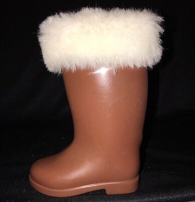 "Madame Alexander 18"" Doll BOOT Brown w/ White Faux Fur Trim LEFT FOOT ONLY"