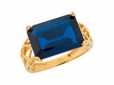 10k or 14k Yellow Gold Simulated Sapphire Ladies Filigree Fashion Cocktail Ring