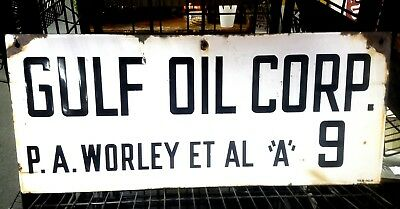 "Gulf Oil Company P A Worley Lease Oilfield Oil Porcelain sign  12"" x 24"""