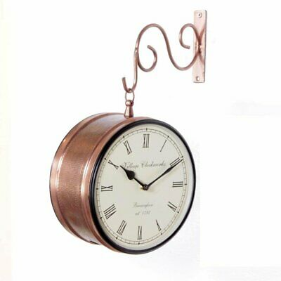 """Vintage Double Sided Clock Railway Station/Platform Analog Wall Clock Copper 8"""""""