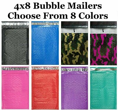 4x8 #000 ( Black Blue Camo Pink Purple Red or Teal  ) Color Poly Bubble Mailers
