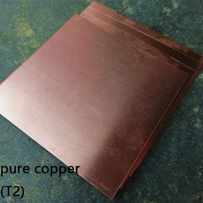 1pcs 99.9% T2 Pure Copper Cu Metal Sheet Plate 1.2 x 100 x 100mm