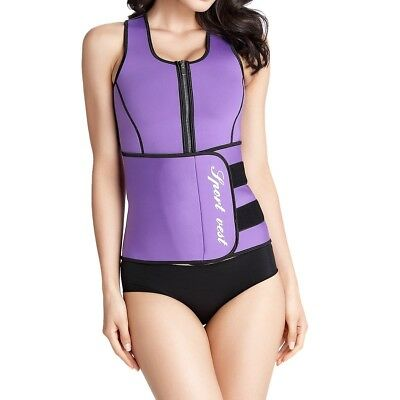 (Purple, Tag size L=UK size X-Small) - Shymay Women's Neoprene Sauna Tank Top