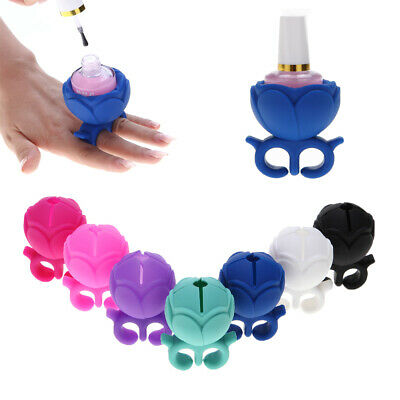 Flower Nail Art Silicone Finger Wearable Gel Polish Holder Display Ring Stand