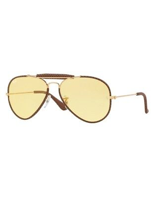 Sunglasses Ray-Ban Round Metal RB3422Q 9042 4A 58 Leather Light Brown Yellow 1af0c16bc6