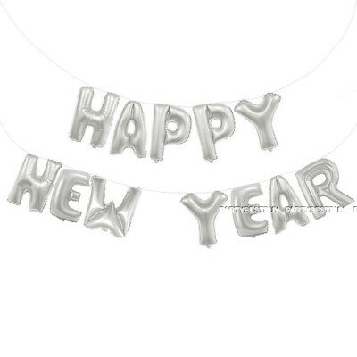 Self Inflating Happy New Year Banner Balloon Bunting Silver 16 inch Letters Foil