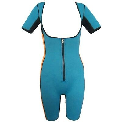 (Blue, UK XXXXL=Tag 5XL) - Women's Neoprene Slimming Body Shapewear Bodysuit