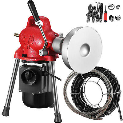 "3/4""-4"" Drain Cleaner 500W Pipe Auger Cleaning Machine 65'x3/5"" Cable w/ cutter"