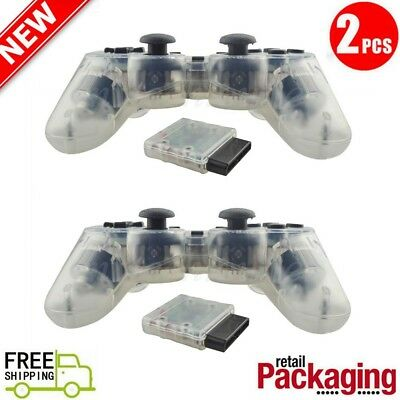 2X New Wireless 2.4GHz Twin Shock Game Controller For PS2 Clear White Joypad