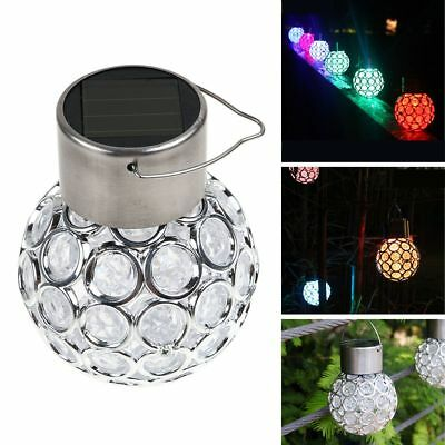 7-Color Changing LED Solar Garden Hanging Light Crackle Glass Lantern Ball Patio