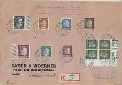 Germany,  Ostland Area 1943 Cover Pleakau Pskov Registered