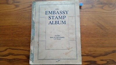 OLD EMBASS STAMP ALBUM: MIXED LOT OF WORLD STAMPS - 100s of  OLD USED STAMPS.