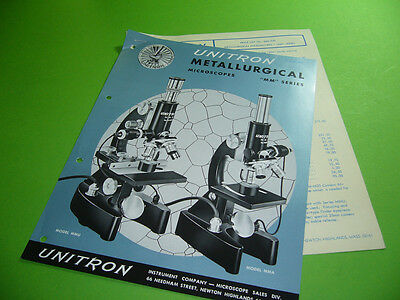 208R05 Prospekt brochure leaflet: UNITRON MM SERIES Metallurgical Microscope MMU