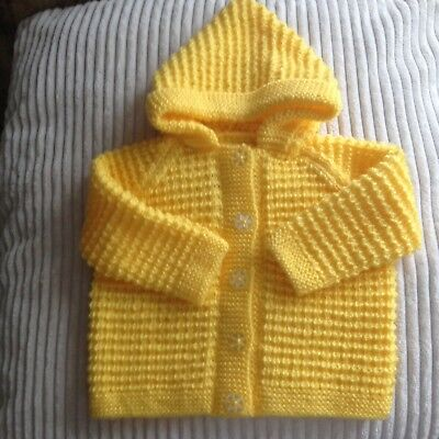 Hand Knitted Hooded Jacket/cardigan Baby Yellow 20 Inch Chest