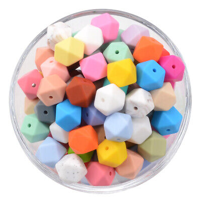 Hexagon Silicone Teething Beads DIY Baby Chewy Necklace Teether Jewelry Making