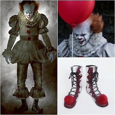 UK Halloween Stephen King's It Clown Pennywise Men Cosplay Boots Shoes Full Size