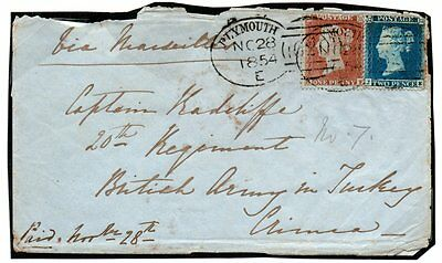 Crimean War Mixed Franking Letter Addressed To Officer In Crimea