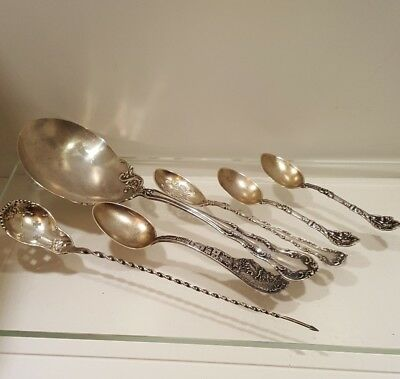 Six Antique Sterling Silver Spoons Versailles Serving Wallace Gorham 135 grams