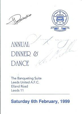 Leeds United Supporters Club Autographed Menu 1999