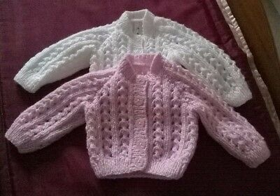 SET OF 2  HAND KNITTED 0-3 mths BABY CARDIGANS