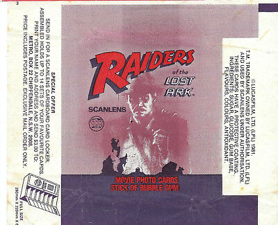 Scanlens - Raiders of the Lost Ark - Card Wrapper - 1981 - NO TEARS / RIPS