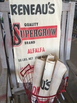 Set of 12 Vintage cotton/linen seed sack, feed bag, Reneau's