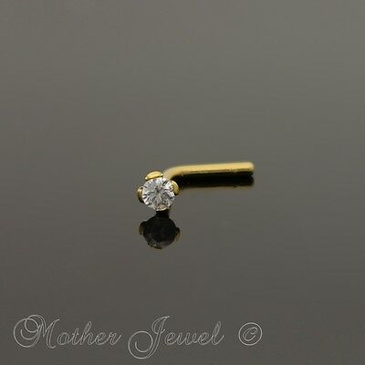 14K Yellow Gold Ip 2Mm Simulated Diamond L Shaped Bent Unisex Nose Piercing Stud