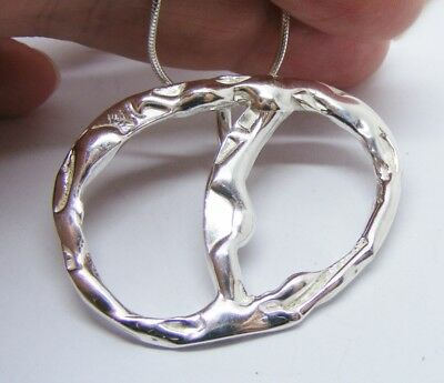 Sterling silver Open Fluidity Textured, Oval Pendant, Unique Handmade jewellery