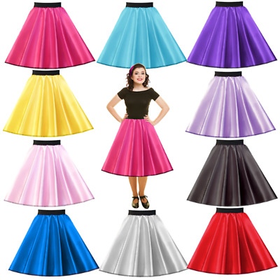 Ladies SATIN Rock n Roll Skirts 1950's Costume Pink Ladies HAIRSPRAY JIVE UK