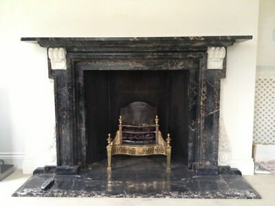 Antique Original Hand Carved Black and White Marble Fireplace and Hearth