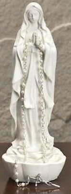8 White Madonna Rosary Holder NEW, Free Shipping